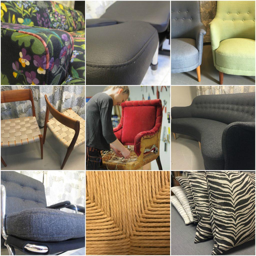 Omklädsel, klär om, DUX, Samsas, Carl Malmsten, Karin-fåtölj, Kuddar, sadelgjord, sömnad dynor, sömnad kuddar, möbeltyg, klä om behandlingsbänk